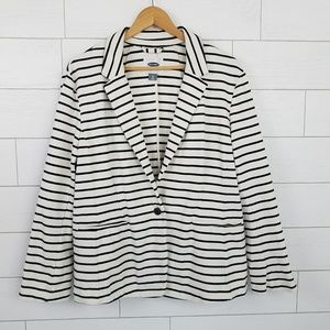 Old Navy XL Ponte Knit Blazer Jacket Black Stripe